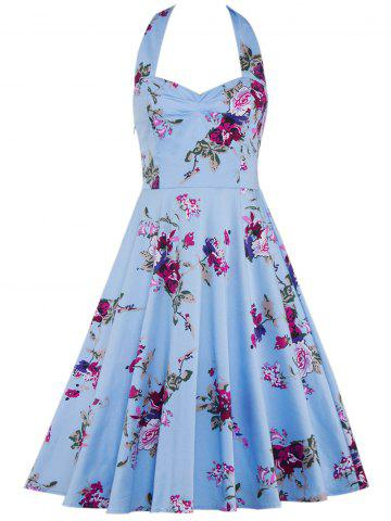 Latest Halter Floral Going Out Swing Dress - L CLOUDY Mobile