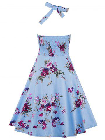 Fashion Halter Floral Going Out Swing Dress - M CLOUDY Mobile