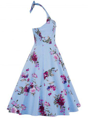 Fashion Halter Floral Going Out Swing Dress - S CLOUDY Mobile