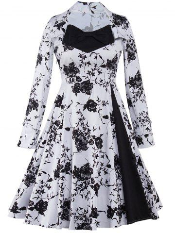 Fashion Long Sleeve Monochrome Tea Length Swing Vintage Dress - 2XL WHITE AND BLACK Mobile