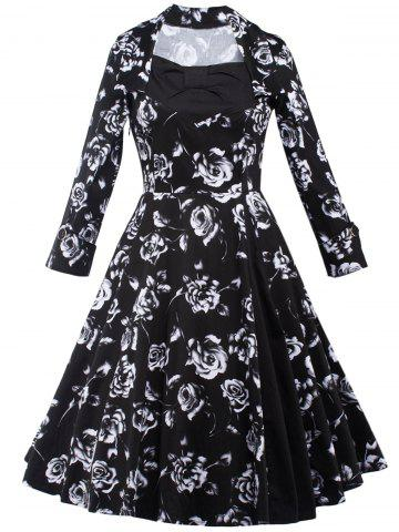 Hot Rose Monochrome Long Sleeve Tea Length Dress BLACK 2XL