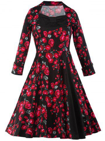 Hot Vintage Floral Long Sleeve Midi A Line Dress RED/BLACK 2XL