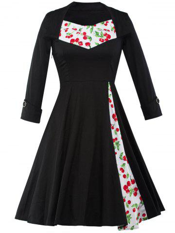 Affordable Cherry Print Tea Length Vintage Swing Dress BLACK 2XL