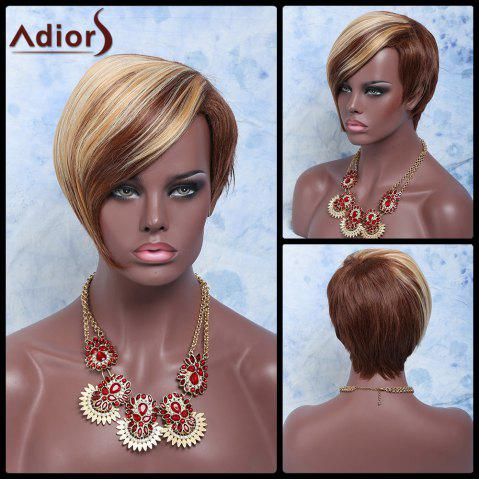 Cheap Adiors Hair Double Color Short Oblique Bang Straight Synthetic Wig