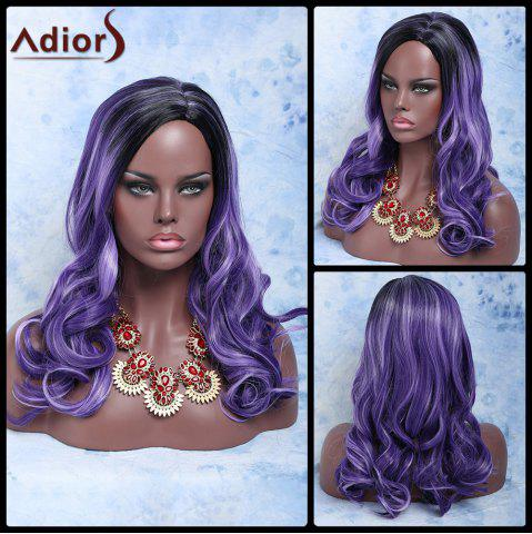 Long Side Parting Double Color Wavy Synthetic Wig - BLACK/PURPLE