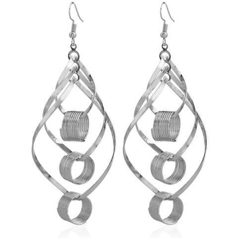 Discount Hollow Out Leaf Circle Earrings SILVER