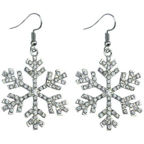 Rhinestone Snowflake Earrings - WHITE