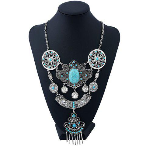 Artificial Gem Beads Flower Coins Necklace - SILVER/BLUE