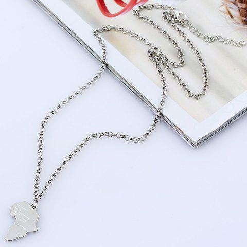 Shops Africa Map Pendant Sweater Chain - SILVER  Mobile