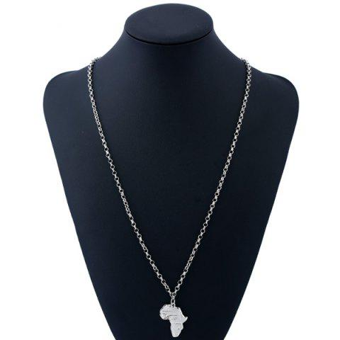 Best Africa Map Pendant Sweater Chain - SILVER  Mobile