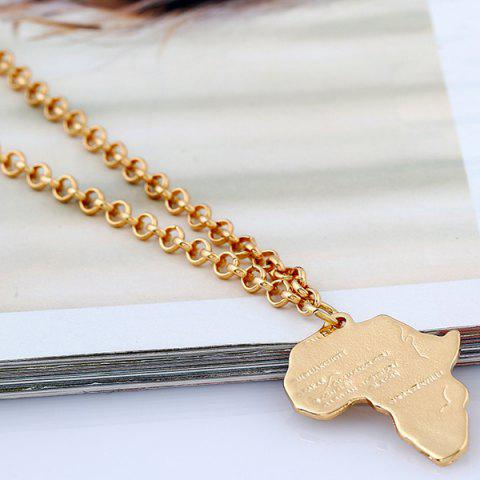 Outfits Africa Map Pendant Sweater Chain - GOLDEN  Mobile