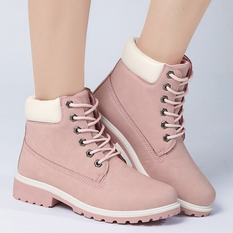 Store Eyelet Color Splice Lace Up Short Boots - 37 PINK Mobile