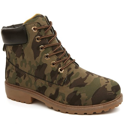 Discount Eyelets Lace Up Camouflage Printed Boots