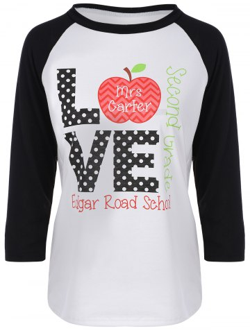 Buy Christmas Raglan Sleeve Love Graphic Tee