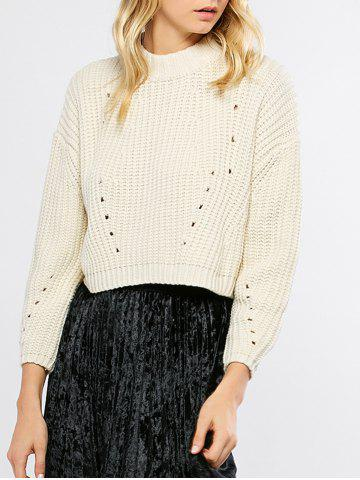 Unique Mock Neck High Low Chunky Sweater