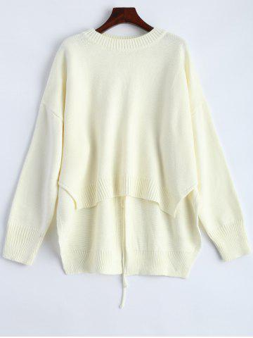 Store High Low Lace Up Pullover Sweater