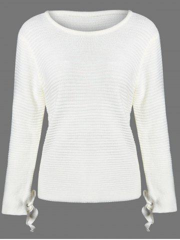 Fancy Pullover Ribbed Bowknot Knitwear