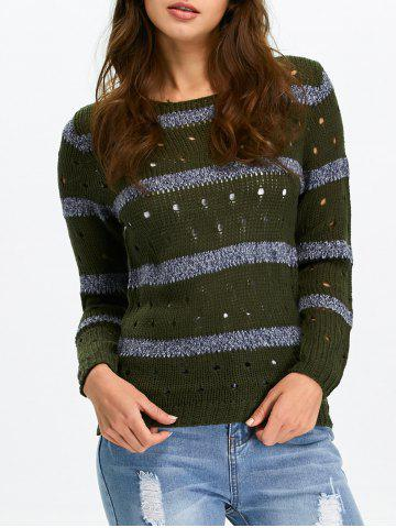 Cheap Stripe Hollow Out Crew Neck Sweater