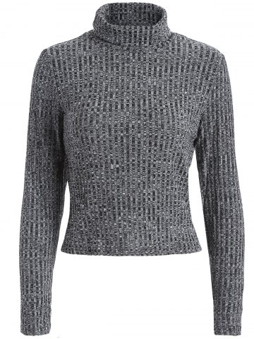 Unique Turtleneck Cropped Heathered Sweater