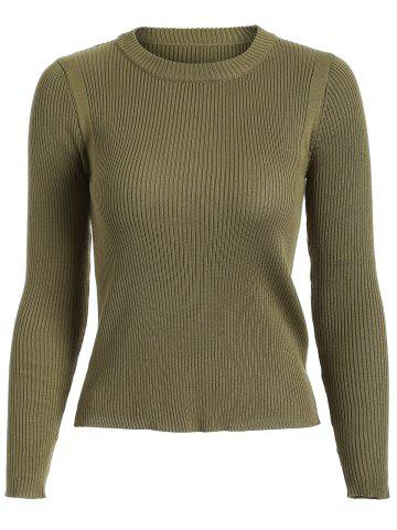 Store Ribbed Knit Crew Neck Cropped Knitwear OLIVE GREEN ONE SIZE