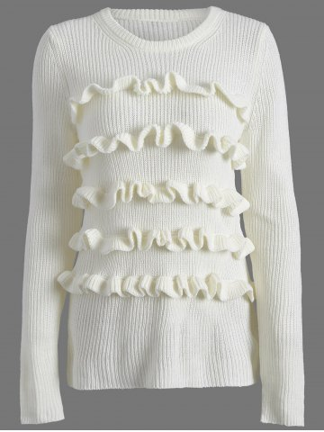 Outfits Crew Neck Ruffles Ribbed Sweater