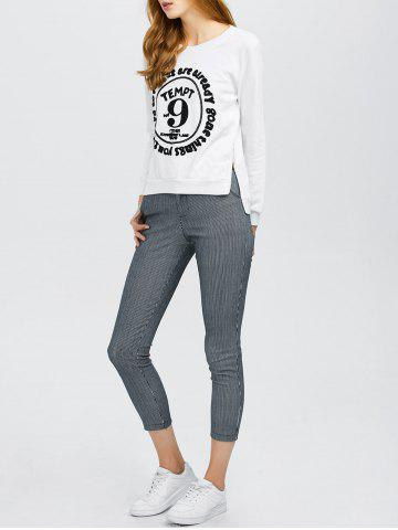 Long Sleeve Graphic Tee With Stripe Pants - White - S