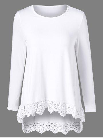 Outfits High Low Lace Trim Tee
