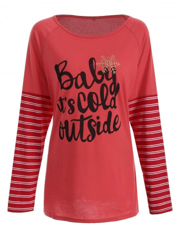 Shops Christmas Striped Letter Print Tee RED XL