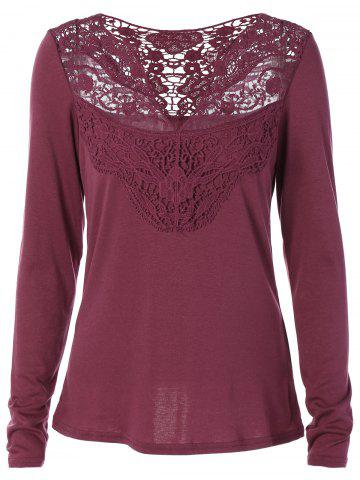 Fashion Lace Openwork Long Sleeve Tee