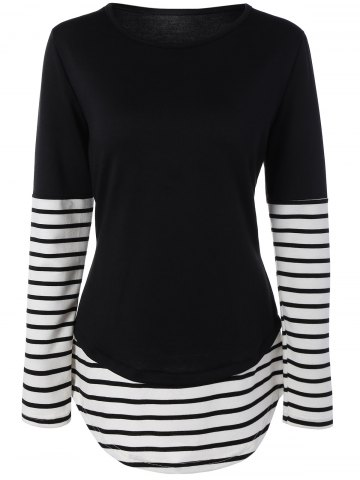 Latest Striped Panel Contrast Tee BLACK XL