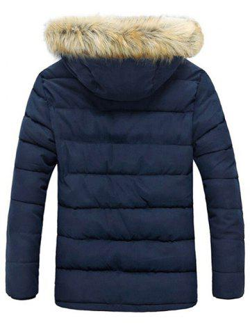 Online Button Pocket Zip Up Faux Fur Hooded Quilted Coat - XL BLUE Mobile