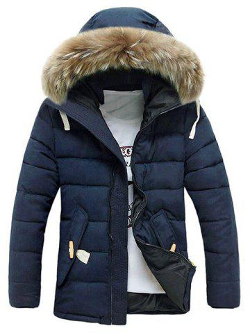 Online Button Pocket Zip Up Faux Fur Hooded Quilted Coat - L BLUE Mobile