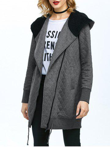 Discount Inclined Zip Hooded Quilted Coat