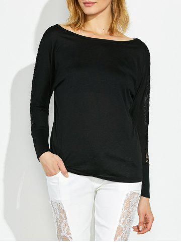 Unique Long Sleeve T-Shirt with Lace Trim