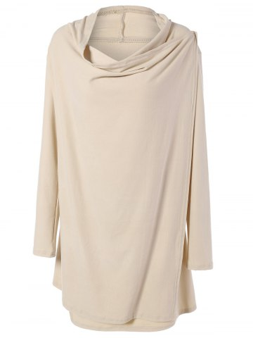Chic Cowl Neck Overlap Loose Cream Long Sleeve Tee APRICOT XL