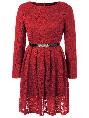 Affordable Fit and Flare Lace Long Sleeve Dress WINE RED S
