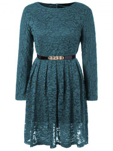 Store Fit and Flare Lace Long Sleeve Dress TURQUOISE L
