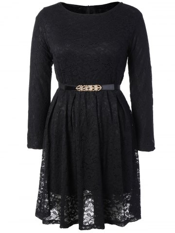 Fit and Flare Lace Long Sleeve Dress - Black - S