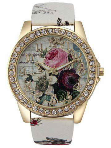 Outfit Rhinestone Faux Leather Rose Quartz Watch WHITE