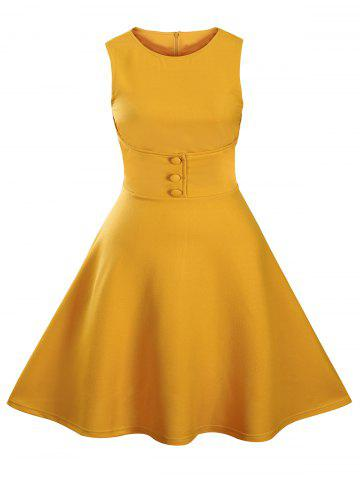 Store Buttoned Sleeveless Knee Length Swing Vintage Dress YELLOW L