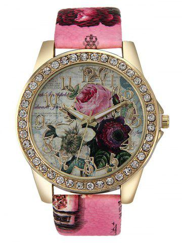 Montre strass de quartz rose à bracelet en cuir artificiel