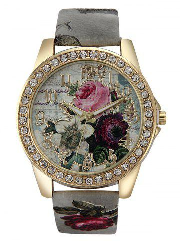 Hot Rhinestone Faux Leather Rose Quartz Watch GRAY