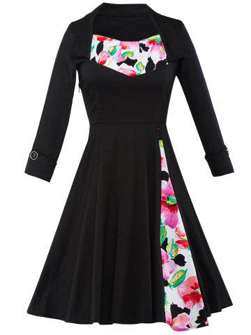 Shops Floral Button Cuff Tea Length Vintage Dress