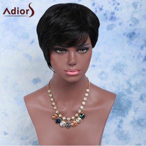 Sale Ultrashort Natural Black Straight Synthetic Wig