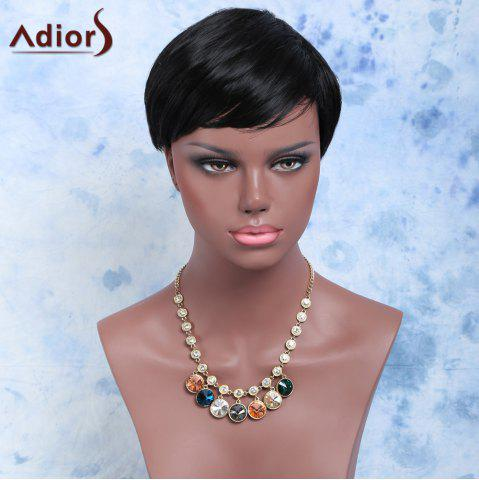 Store Handsome Short Straight Side Bang Capless Synthetic Wig