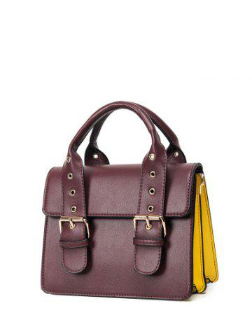 New Double Buckles Color Block Eyelets Crossbody Bag