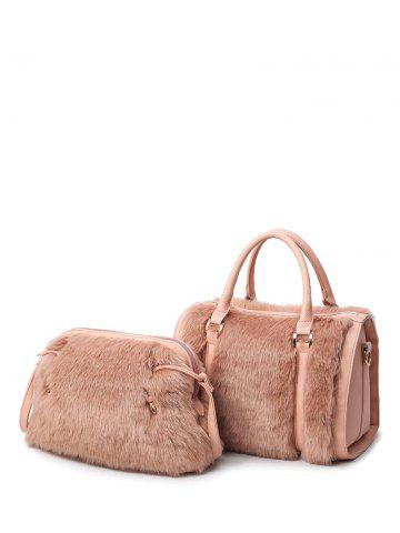 Online Faux Fur PU Leather Metal Tote Bag