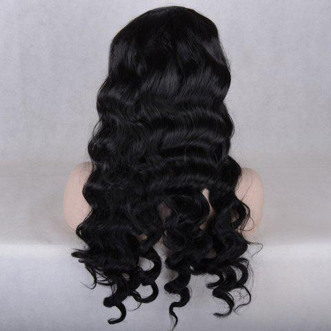 Latest Long Middle Parting Body Wave Lace Front Synthetic Wig - BLACK  Mobile