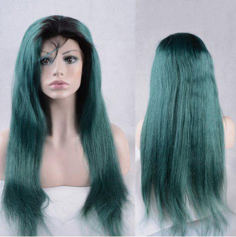 Sale Long Side Bang Straight Colormix Lace Front Synthetic Wig