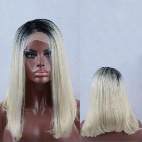 Online Long Side Parting Straight Colormix Lace Front Synthetic Wig